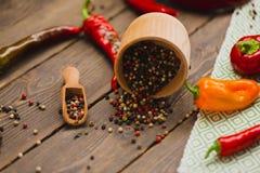 红辣椒和色的胡椒 免版税库存图片