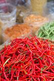 红辣椒在市场上 库存图片