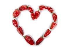 红辣椒心脏形状 库存图片