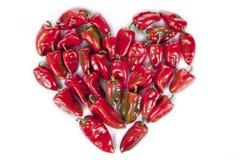 红辣椒心脏形状 免版税库存图片