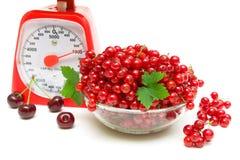 红醋栗、厨房标度和樱桃在白色背景 免版税图库摄影