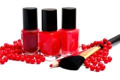 红颜色化妆用品  免版税图库摄影