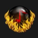 红颜色音符在球形的 免版税库存图片