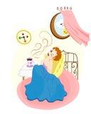 红头发人俏丽的女孩叫醒并且看时钟 太阳, cofee和 向量例证