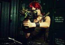 红头发人军事女孩 库存图片