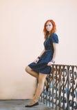 红头发人女孩的画象 库存照片