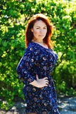 红头发人妇女在春天 库存图片