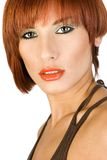 红头发人妇女的画象。 免版税库存照片