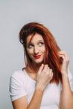 红头发人妇女的画象 库存照片