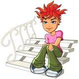 红头发人少妇坐台阶 免版税图库摄影