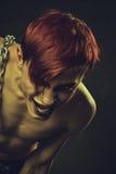 红头发人疯狂的男孩 免版税库存图片