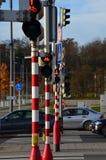 红绿灯后边在斑马线 免版税库存图片