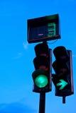 红绿灯在晚上 免版税库存图片