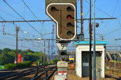 红绿灯铁路 免版税库存照片