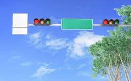 红绿灯,在有交通标志的一条城市街道上 图库摄影