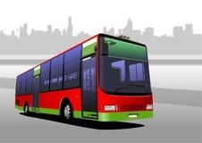 红绿的城市公共汽车 教练 免版税图库摄影
