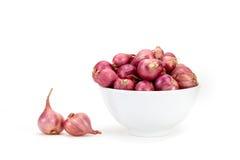 红洋葱或青葱在白色碗 图库摄影