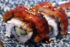 纤巧东方卷寿司 免版税库存图片