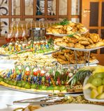 纤巧和快餐在自助餐或宴会 承办酒席 选择聚焦 免版税图库摄影