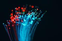 纤维光学网络缆绳和被弄脏的光背景的和 免版税库存照片
