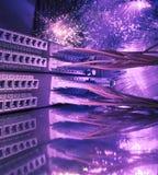 纤维光学网络缚住接线板 免版税库存图片