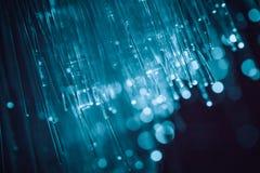 纤维光学技术蓝色光 图库摄影