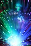 纤维光学网络缆绳五颜六色的背景  免版税库存照片
