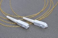 纤维光导电缆插接线 免版税图库摄影
