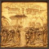 约书亚,天堂门,佛罗伦萨大教堂洗礼池  免版税库存照片