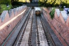 1870约会了布达佩斯城堡小山缆索铁路在布达佩斯匈牙利 免版税库存照片