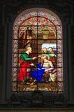 约会到1877的多彩多姿的壁画从圣Pauls大教堂在姆迪纳,马耳他,描述一个宗教场面 库存图片