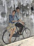 约会在自行车 免版税库存图片
