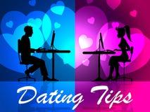 约会技巧表明爱网络和提示 库存例证