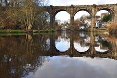 约克夏Knaresborough高架桥河   免版税库存照片