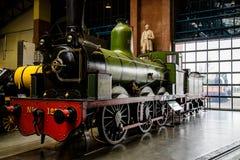 约克,英国- 02/08/2018 :在t的一辆绿色蒸汽机车 免版税库存图片