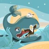 约拿书和鲸鱼-圣经故事 免版税库存照片