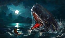 约拿书鲸鱼 皇族释放例证