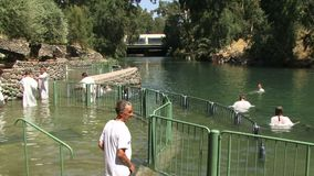约旦河以色列人施洗 股票视频