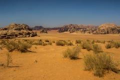 约旦瓦地伦风景,沙漠游人地点 库存照片