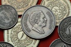 约旦的硬币 侯赛因国王bin塔拉勒 库存图片