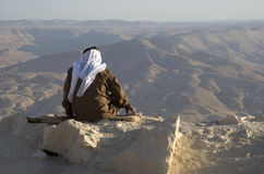 约旦老人享受山看法  库存照片