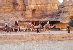 约旦,Petra - 2019年1月4日 骆驼有蓬卡车在古城 库存图片