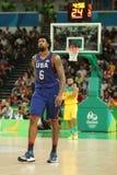 约旦DeAndre第队美国6在行动的在小组A在队美国和澳大利亚之间的篮球比赛期间 免版税库存图片