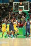 约旦DeAndre第队美国6在行动的在小组A在队美国和澳大利亚之间的篮球比赛期间 免版税库存照片