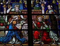 约瑟夫和玛丽-彩色玻璃婚礼  免版税库存图片
