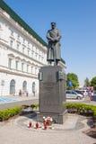 约瑟夫Pilsudski雕象Pilsudski广场的在华沙,波兰的中心 免版税图库摄影
