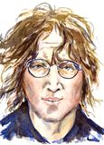 约翰・列侬, Beatles领导,面孔画象 库存图片