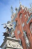 约翰戈特弗里德牧民Tatue在老镇里加,拉脱维亚 免版税库存照片