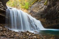 约翰斯顿峡谷瀑布,加拿大 库存照片