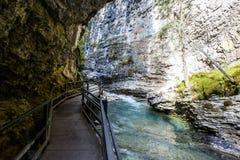 约翰斯顿峡谷,班夫国家公园,亚伯大,加拿大 库存照片